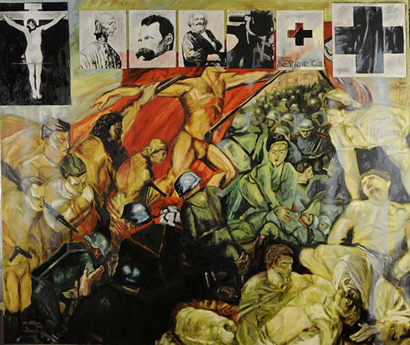 Laibach Kunst, Enigma Revolucije (Enigma of the Revolution), 1982-2010, mixed media oil on canvas, 125x145cm